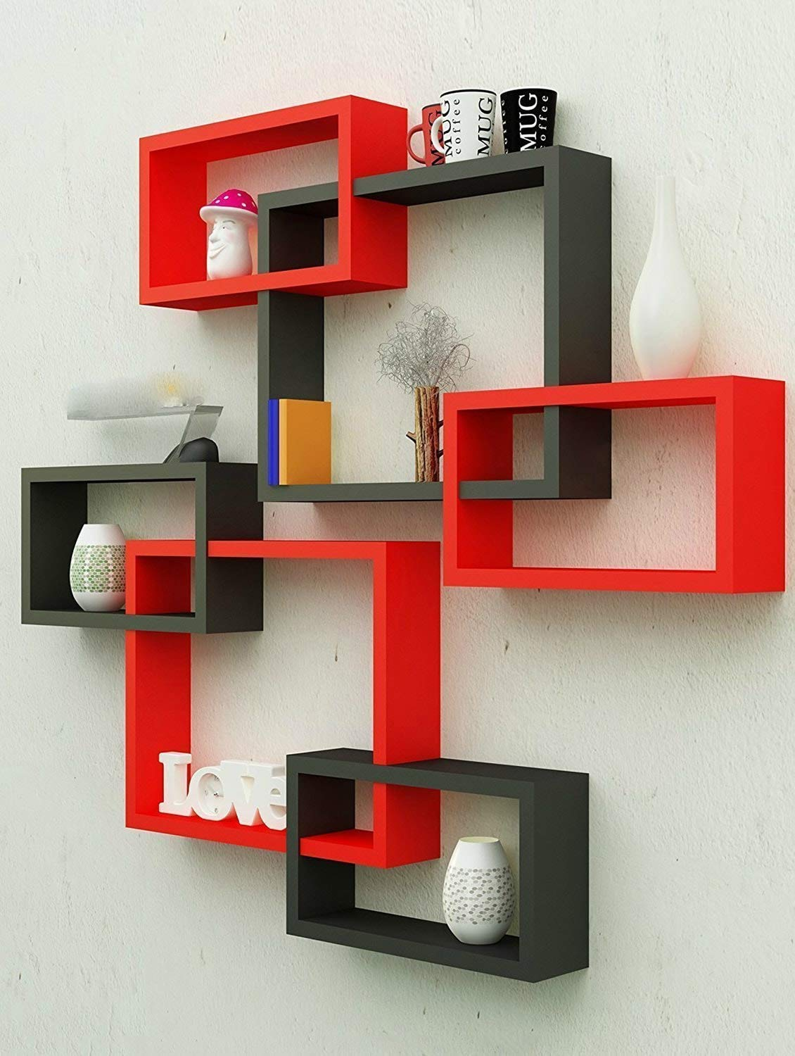 MDF Wall Decoration Intersecting Floating Shelves