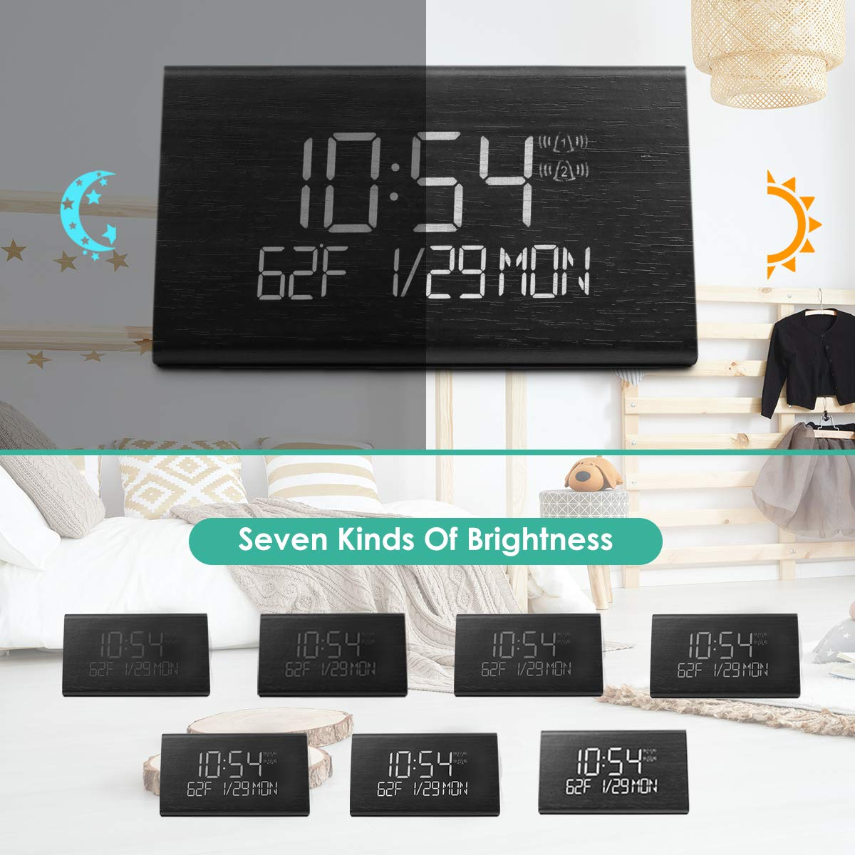Amazon.com: Wooden Digital Alarm Clock with 7 Levels Adjustable Brightness, Voice Command Electric LED Bedside Travel Triangle Alarm Clock, Display Time ...
