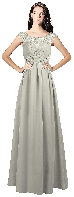 Silver CladiyaDress Women Sheer Neck Cap Sleeves Long Evening Dress Bridesmaid Gowns C067LF