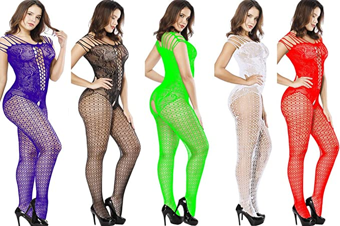 908ad60a9 Whteian Women Crotchless Bodystockings Sexy Stretchy Fishnet Bodysuit  Lingerie 5 Pack (5 Color)