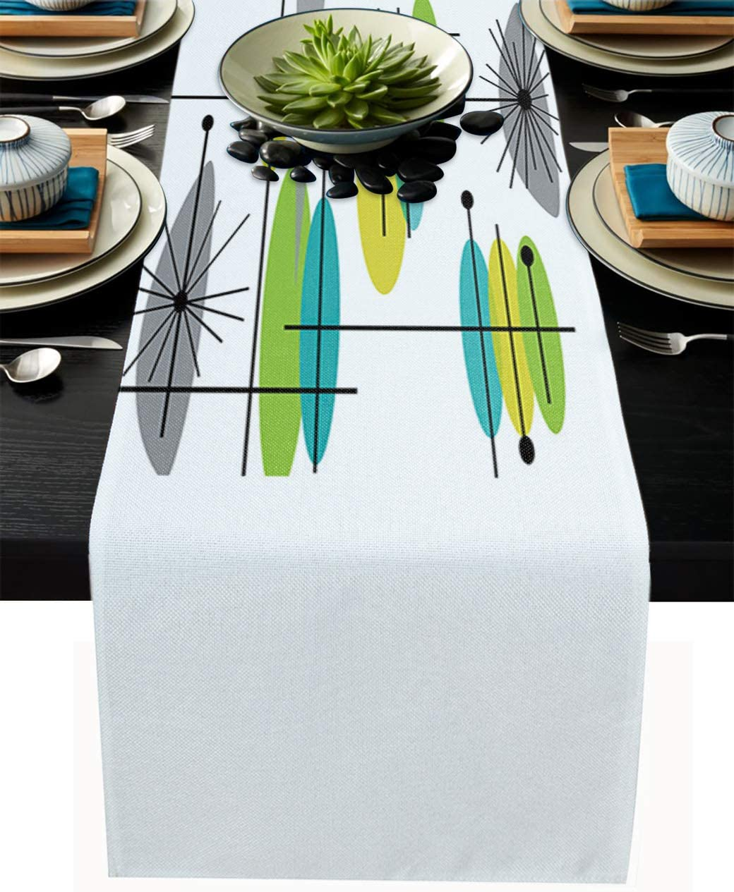 Cloud Dream Home Cotton Linen Table Runner Mid Century Green Yellow Gray Table Setting Decor Lotus Simple Abstract for Garden Wedding Parties Dinner Decoration - 14 x 72 inches