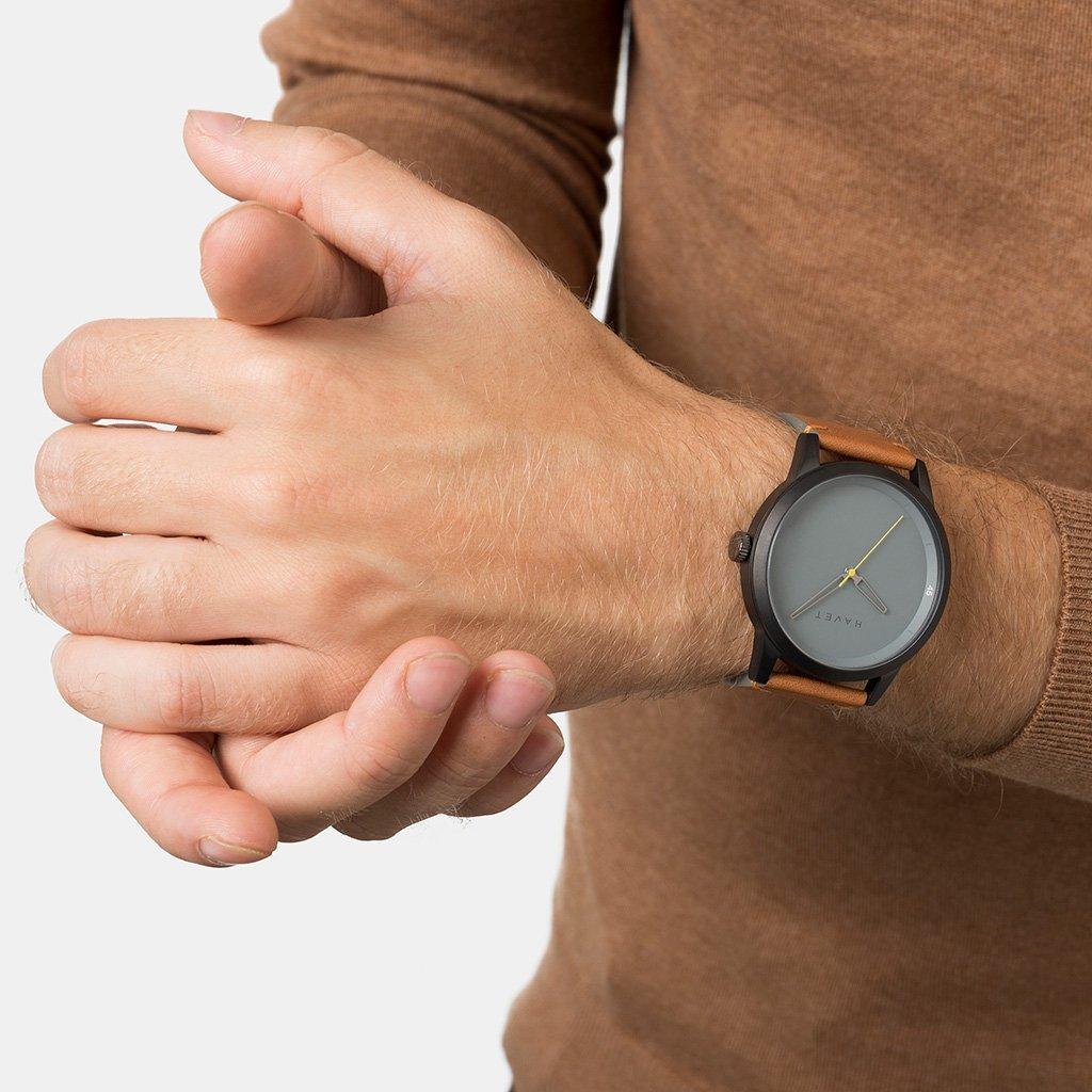 HAVET | Reloj de hombre Bell Rock de acero color antracita esfera gris y correa piel marrón: Amazon.es: Relojes