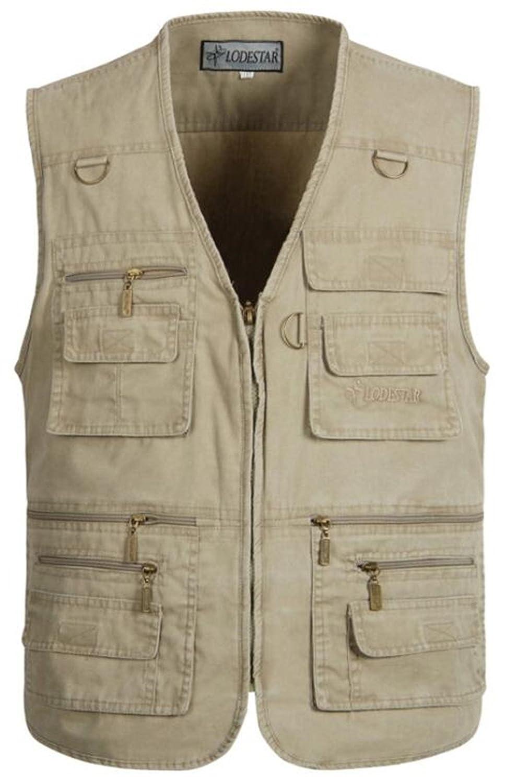 moxishop Herren Multi-Pocket Reporter Fotografie Weste verdeckt tragen Waistcoat ärmellose Jacke Casual Vest Gilet