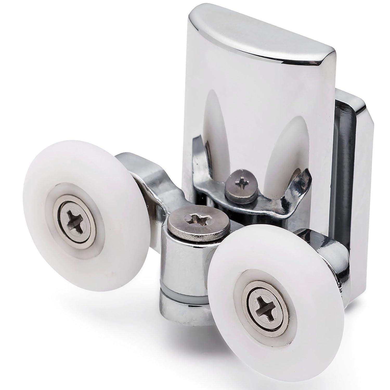 4 x Twin Bottom Zinc Alloy Shower Door Rollers/Runners 23mm wheel dia L067 8mm