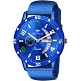 Eddy Hager Round Day & Date with Blue Rubber Chain EH-271-BL