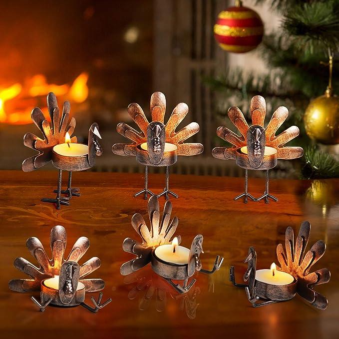 ALLADINBOX Set of 6 Turkey Tea Light Candle Holders Thanksgiving Centerpiece, Fall Decorations, Home Decor, Tea Light Decorations, Table Kitchen Thanksgiving Decorations