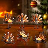 ALLADINBOX Set of 6 Turkey Tea Light Candle Holders Thanksgiving Centerpiece, Fall Decorations, Home Decor, Tea Light Decorat