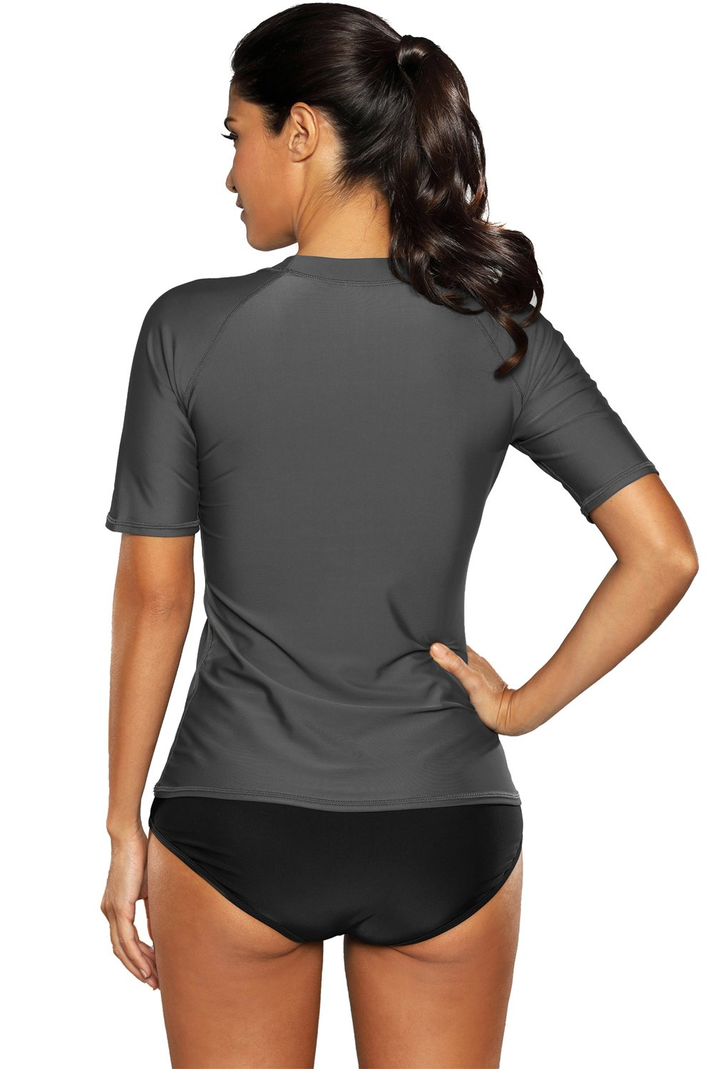 V FOR CITY Womens Swimwear Short Sleeve UV Rash Guard Sport Swimsuit UPF 50+ Rashguards L by V FOR CITY (Image #7)