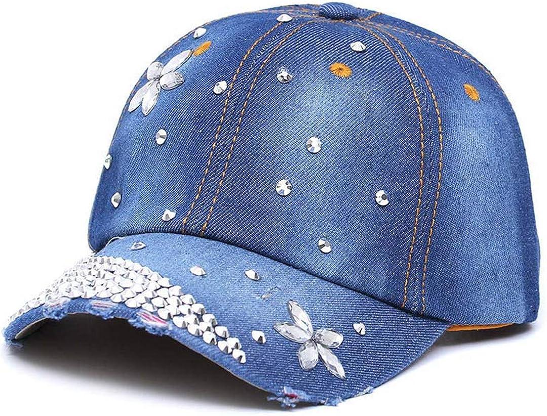 BAIELFES Summer Adjustable Hat Back Denim Rhinestone Baseball Cap
