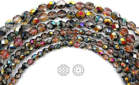 """16/"""" brown Czech Fire Polished Round Faceted Glass Beads in Topaz Vitrail coated"""