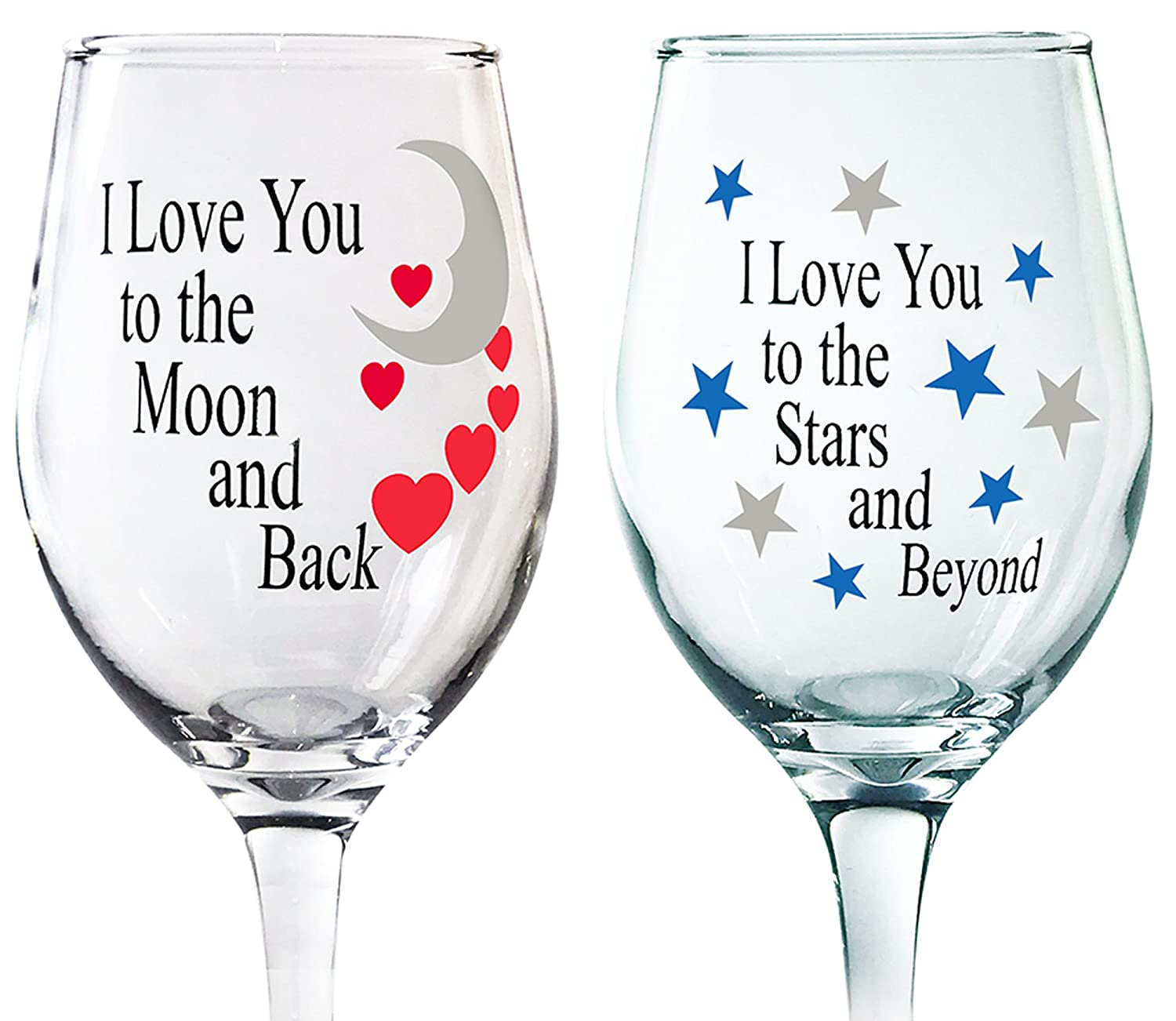 Set of 2 I Love You to the Moon and Back and Stars and Beyond His and Her Romantic Wine Glass Set Banberry Designs 6063 Love You More Wine Glasses for Couples