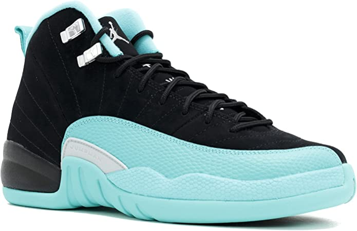 Nike Girls Air Jordan 12 Retro GG BlackMetallic Silver Hyper Jade Fabric