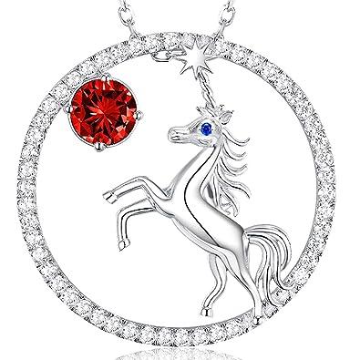 2c50fd9f3d46 Unicorn Jewelry Garnet Necklace Anniversary Birthday Gift For Girls or  Women Charm Fairytale Animals Pendant Sterling