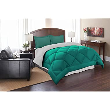 Elegant Comfort All Season Goose Down Alternative Reversible 3-Piece Comforter Set, Full/Queen, Turquoise/White