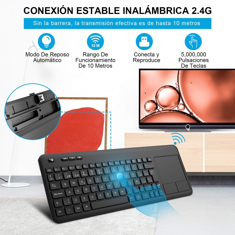 Teclado Táctil Inalámbrico, WisFox Teclado Inalámbrico Ultra Delgado de 2.4G con Trackpad Multitoque de Gran TamañoIncorporado para Smart TV HTPC ...