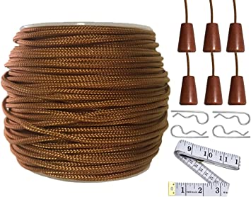SAYAYA 2 Roll 1.8 mm Braided Lift Shade Cord 55 Yards//Roll with 8 Pieces Wood Pendant for Aluminum Blind Shade Gardening Plant and Crafts Black