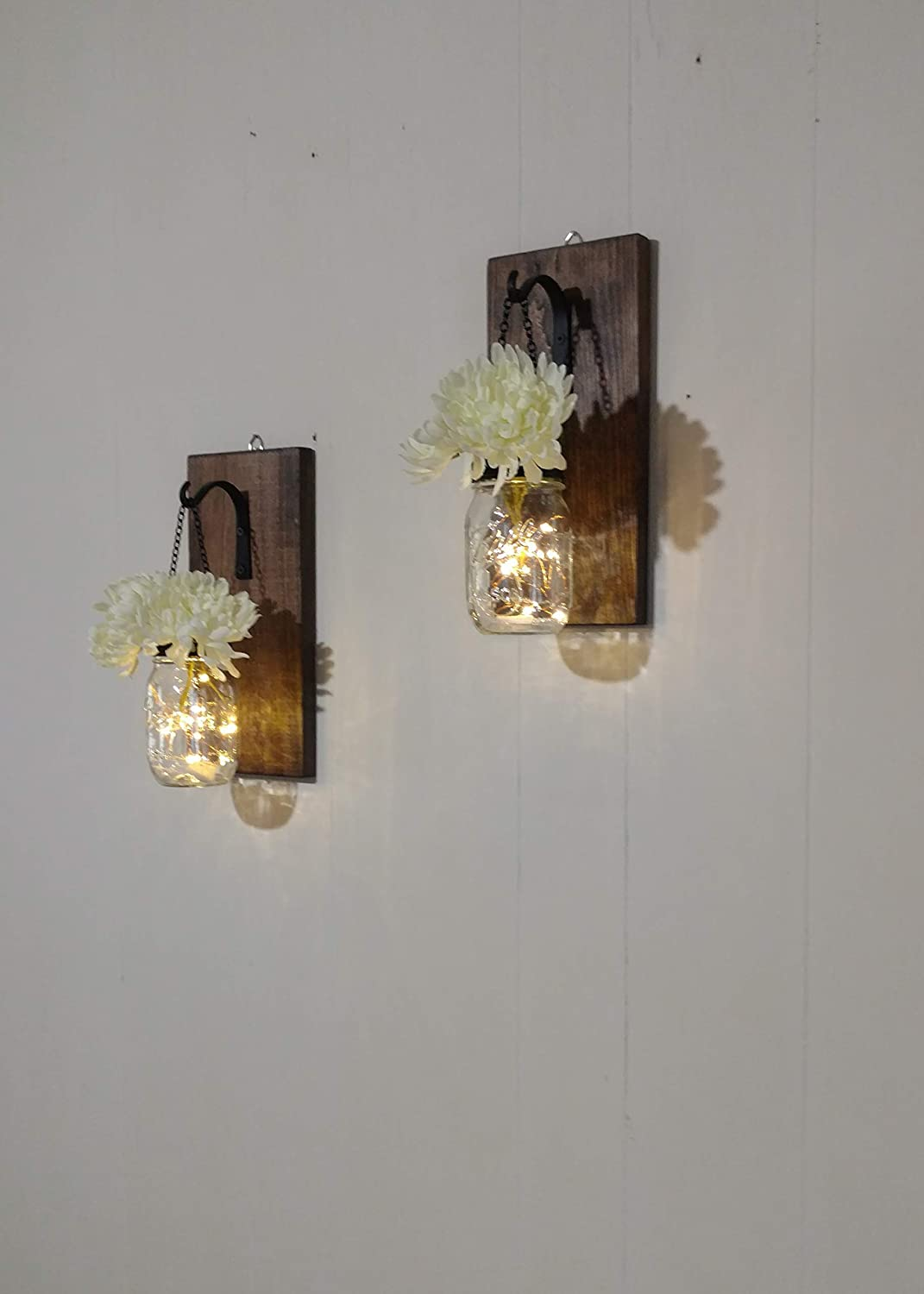 Amazon com rustic hanging mason jar sconces with fairy lights