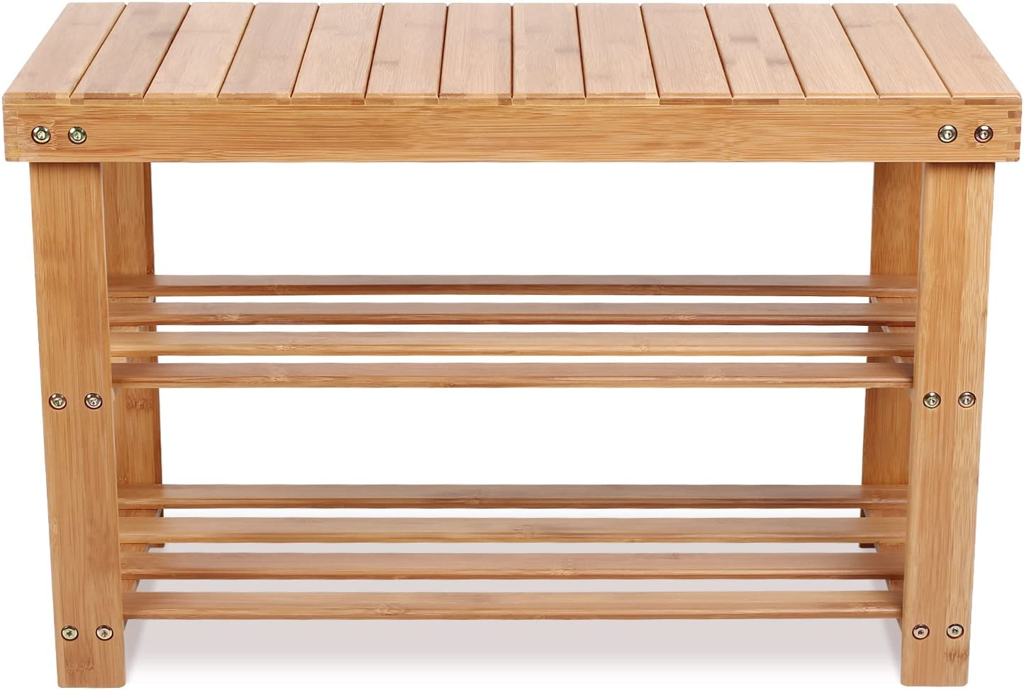 Homfa Banco Zapatero Bambú Estantería para Zapatos con 3 estantes para Entrada Salón Dormitorio Baño 70x28x45cm