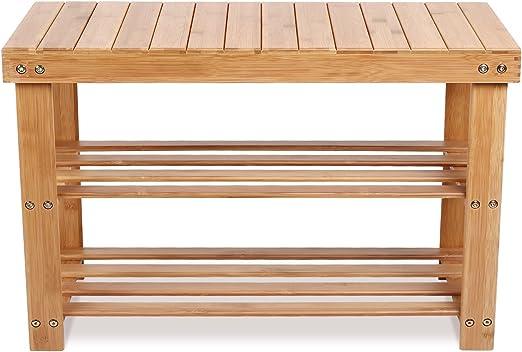 Comprar Homfa Banco Zapatero Bambú Estantería para Zapatos con 3 estantes para Entrada Salón Dormitorio Baño 70x28x45cm