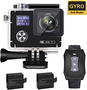 """Aokon ARC500 4K Action Camera 16MP Waterproof Underwater Night Mode Ultra HD Sports Cam with 2"""" Dual Screens/120°- 170° Adjustable Wide Angle Lens/Rechargeable Remote/2 Batteries/20 Accessories Kits"""