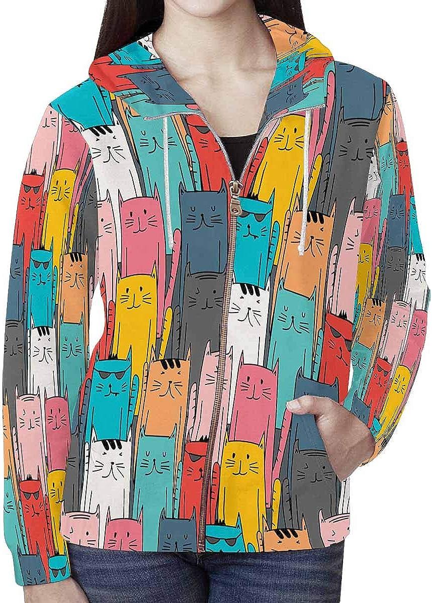 INTERESTPRINT Womens Full-Zip Hoodie Abstract Cat