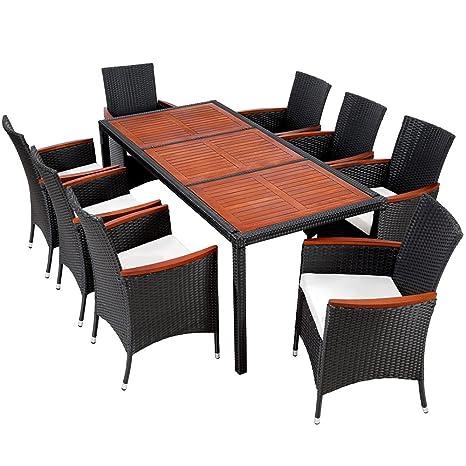 TecTake Salon de jardin 8+1 TABLE DE JARDIN EN RESINE TRESSEE CHAISES SALON  D\'EXTERIEUR POLY ROTIN noir/brun