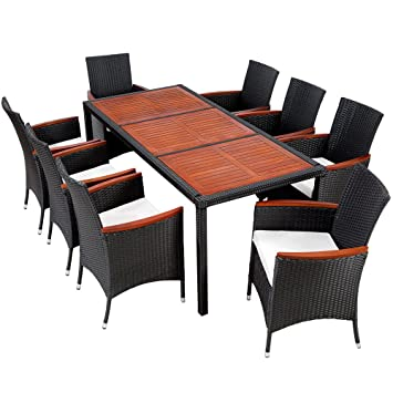 Tectake 8 Chairs 1 Table Luxury Rattan Garden Furniture