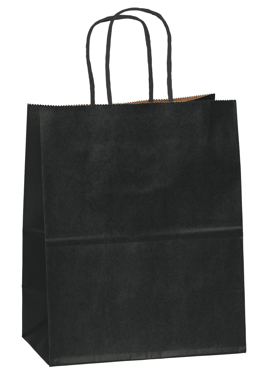8''x4.75''x10'' - 50 Pcs - Black Kraft Paper Bags, Shopping, Mechandise, Party, Gift Bags by Flexicore Packaging