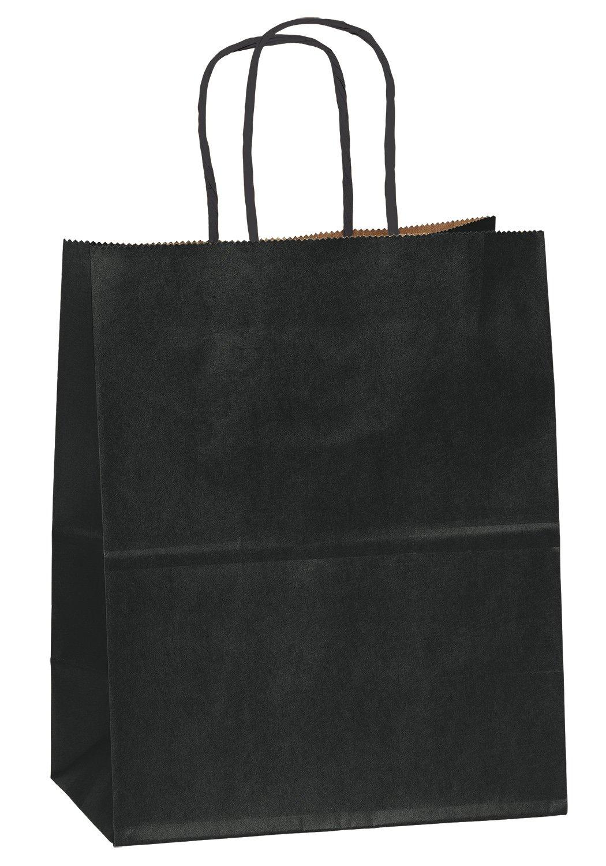 8''x4.75''x10'' - 50 Pcs - Black Kraft Paper Bags, Shopping, Mechandise, Party, Gift Bags