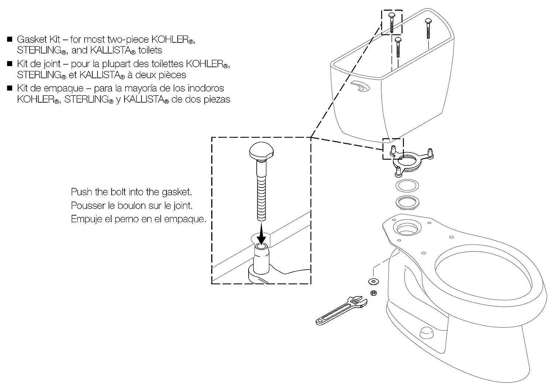 KOHLER GENUINE PART GP51487 TANK BOLT ASSEMBLY KIT - Koehler Tank To ...