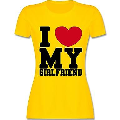 Valentinstag - I Love My Girlfriend College Schrift - S - Gelb - L191 -  Damen
