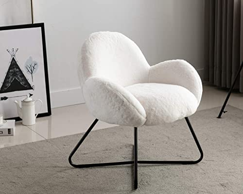 HEAH-YO Faux Fur White Accent Chair, Small Living Room Furry Chair for Bedroom Teen Girls, Comfortable Leisure Single Sofa Chair, Make Up Vanity Chair, Armchair