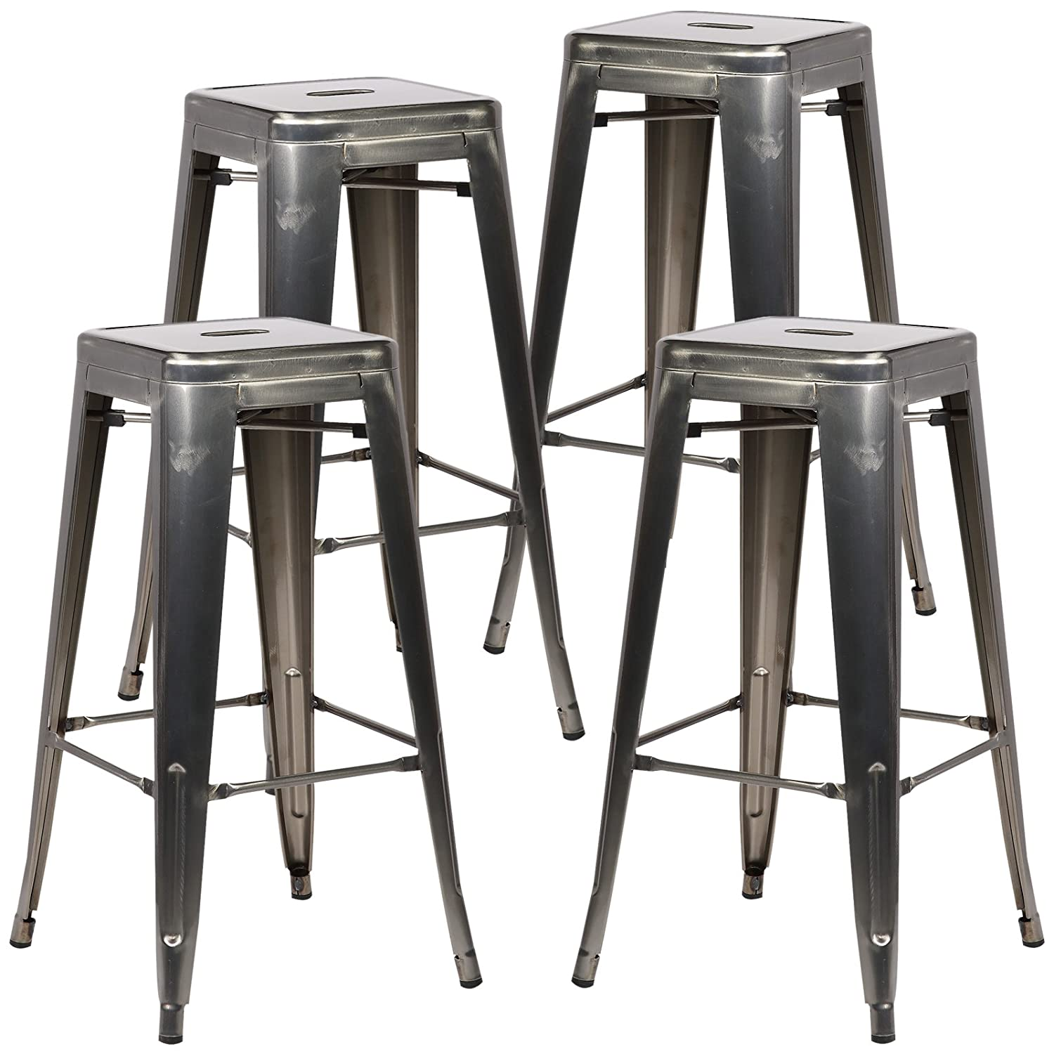 Amazon Poly and Bark Trattoria Bar Stool in Polished Gunmetal