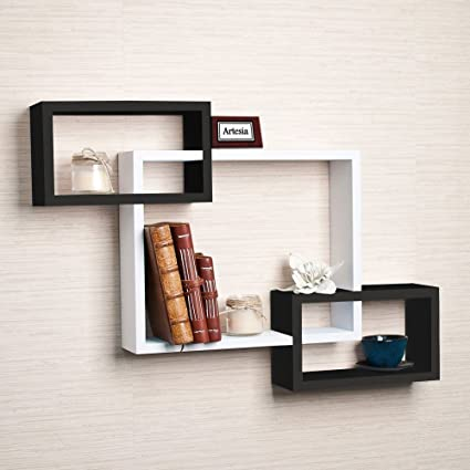 artesia mdf black white wall shelf rack set of 3 intersecting wall rh amazon in black and white wallpaper 4k black and white wall decor
