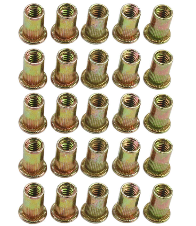 Orgrimmar 100 Pcs Zinc Plated Carbon Steel Rivet Nut Threaded Flat Head Insert Nutsert 1/4-20UNC (Pack of 100)