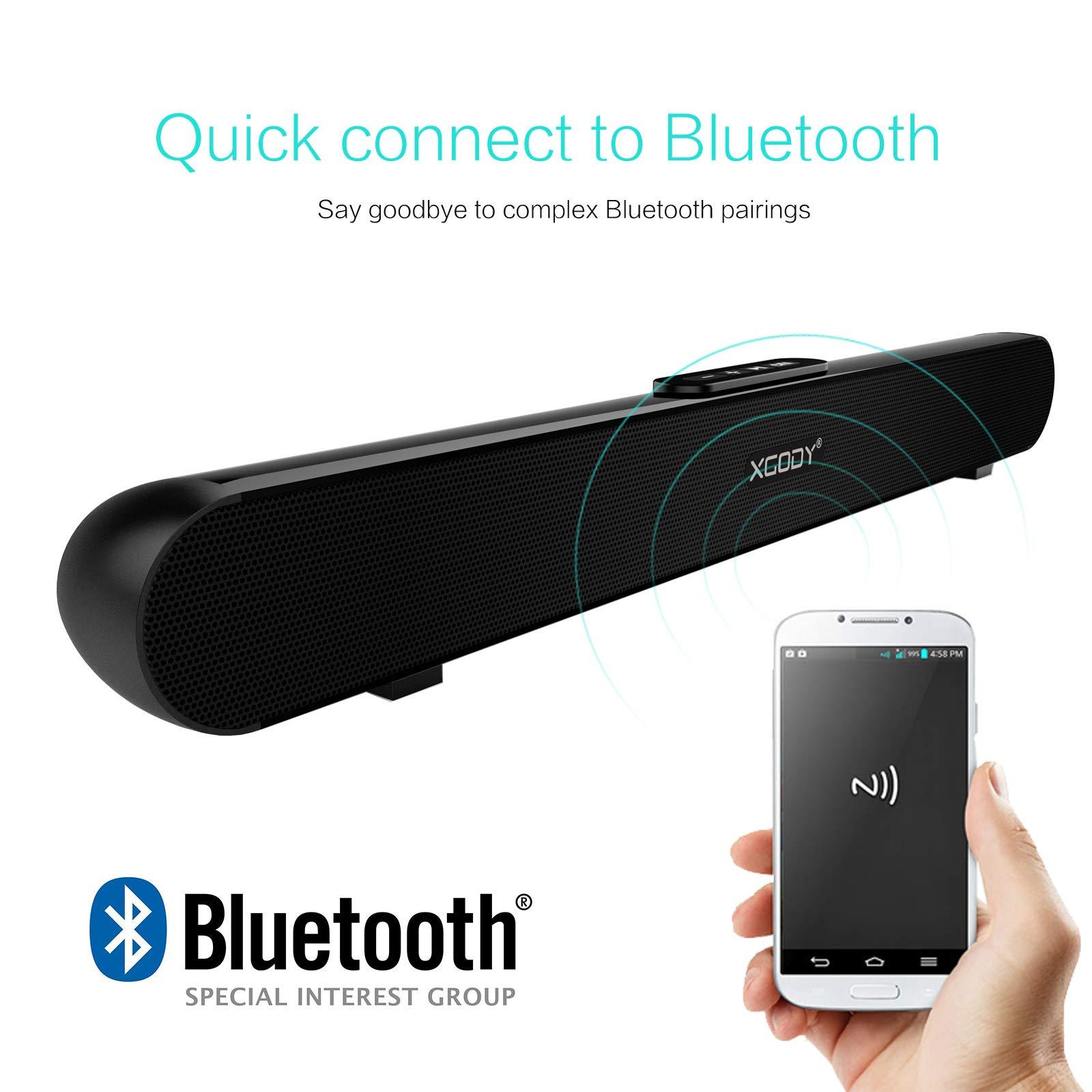 TV Sound Bar XGODY 20'' G-XS01 Wireless Wired Audio Surround Soundbar Bluetooth 5.0 Speaker with 2.0 Channel Sound System by XGODY (Image #3)