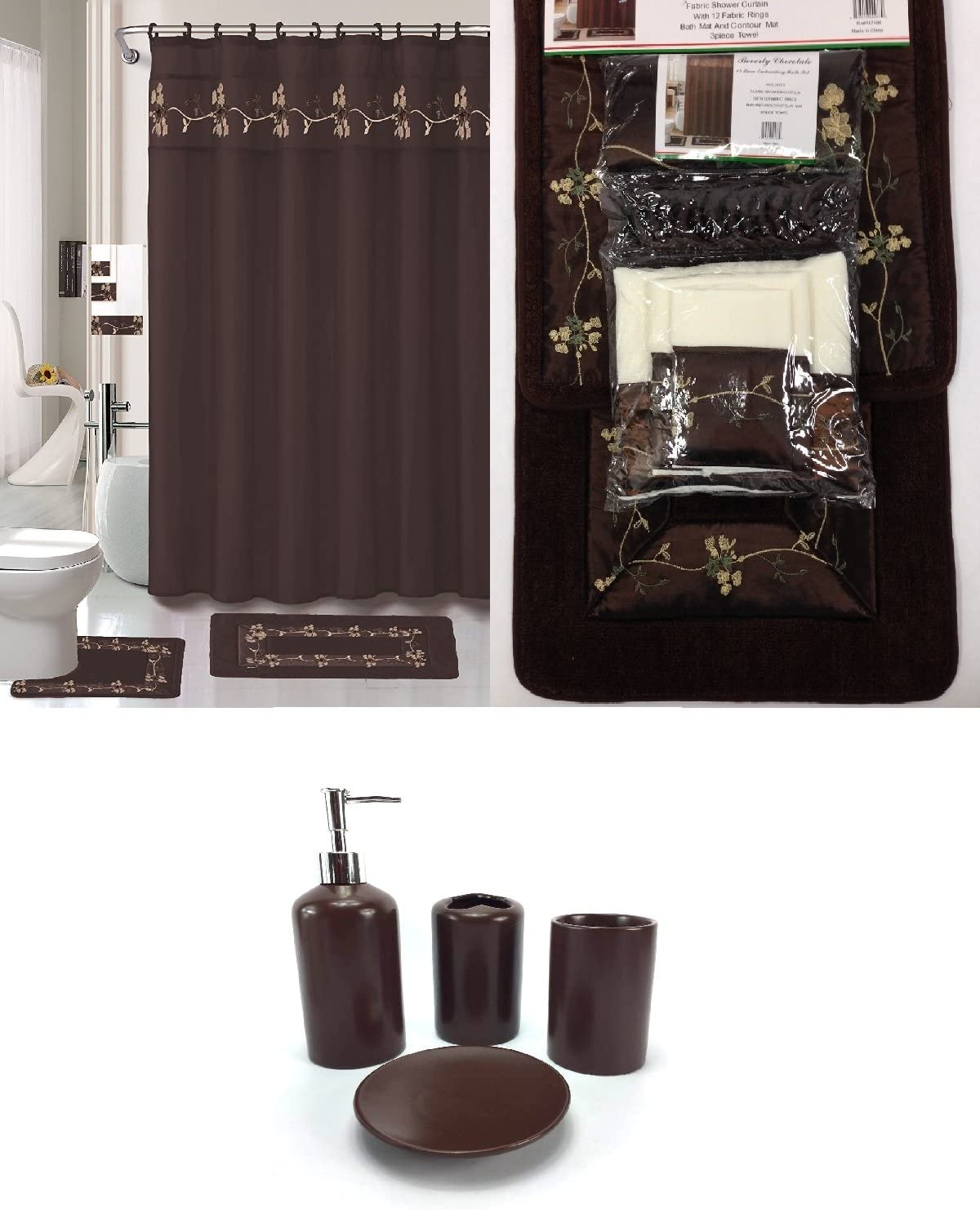 9 Piece Bath Accessory Set Beverly Chocolate Brown Bathroom Rug Set +  Shower Curtain & Accessories
