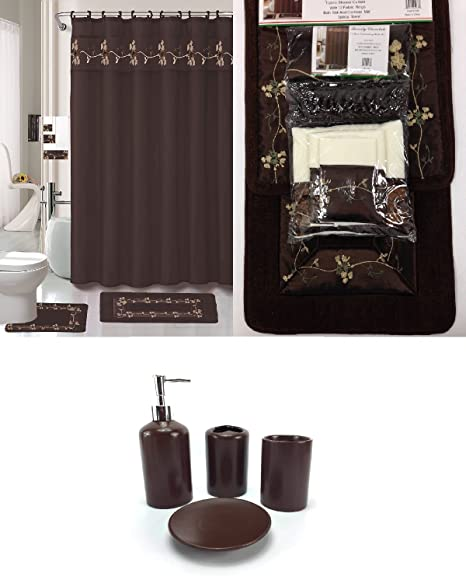 Amazon Com 22 Piece Bath Accessory Set Beverly Chocolate Brown Bathroom Rug Set Shower Curtain Accessories Brown Bathroom Sets With Shower Curtain And Rugs And Accessories Kitchen Dining