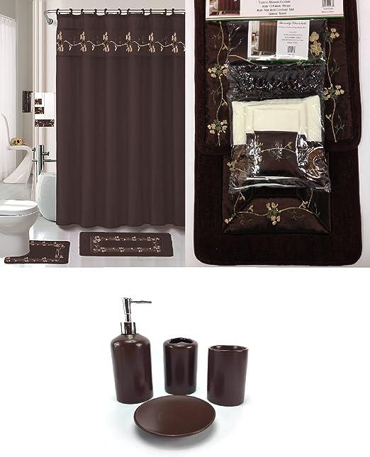 Amazon Com 22 Piece Bath Accessory Set Beverly Chocolate Brown