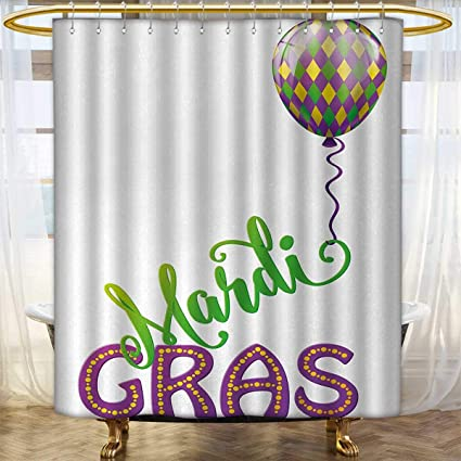 Anhounine Mardi Gras Shower Curtain Collection By Illustration Of Cartoon Color Balloon With Swirl