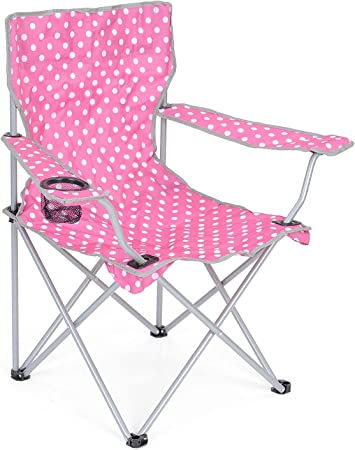 Trail Padded Folding Camping Chair High Back For Support Heavy Duty Frame Cup Holder Polka Dot Festival Pattern Carry Bag
