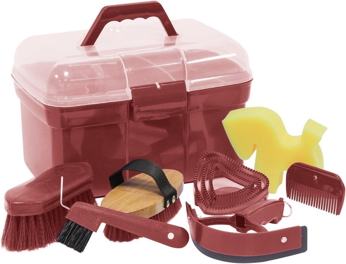 Reitsport Amesbichler Waldhausen - Caja de limpieza con accesorios para caballos, color rojo oxidado