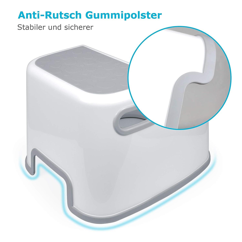 ideal als Erh/öhung /& Sitz Anti RUTSCH Trittschemel // Tritthocker // Kindersitz incl Giraffe Ki.. Creme Name gro/ß Kinderschemel /& Kindertritt
