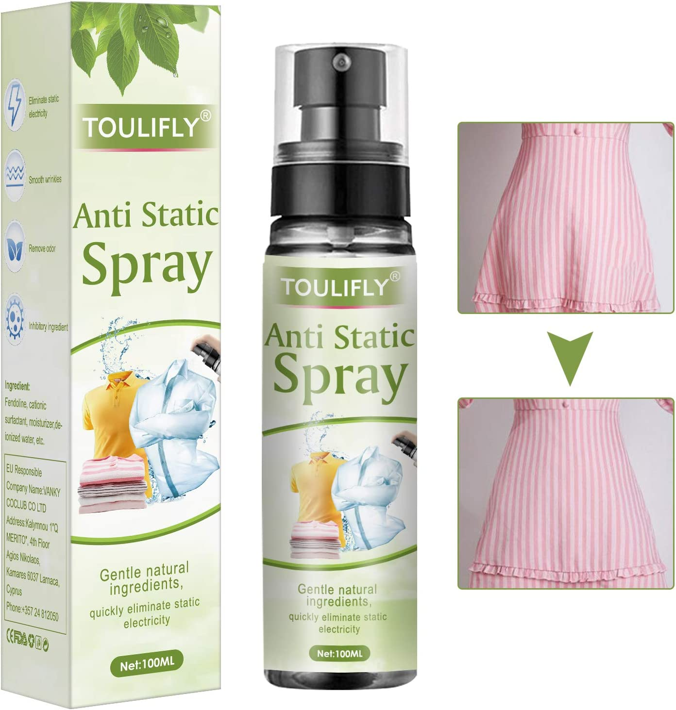 Anti Static Spray,Anti Static Spray for Clothes,Static Remover for Clothes,Static Eliminator Spray,Static Cling Remover,Reduce Static Cling for Clothes,Furniture and Car,100ML