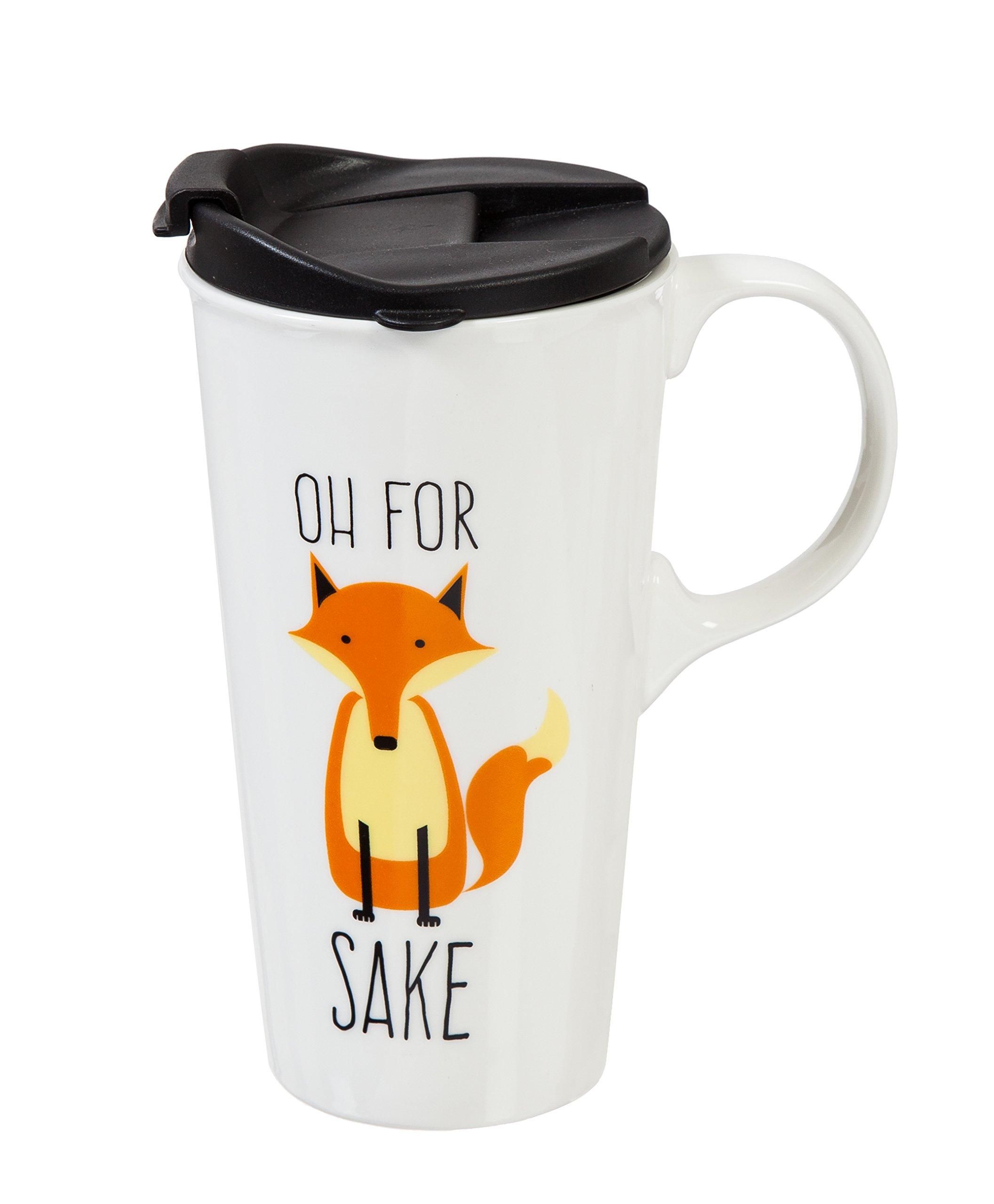 Cypress Home Oh For Fox Sake Ceramic Travel Coffee Mug, 17 ounces