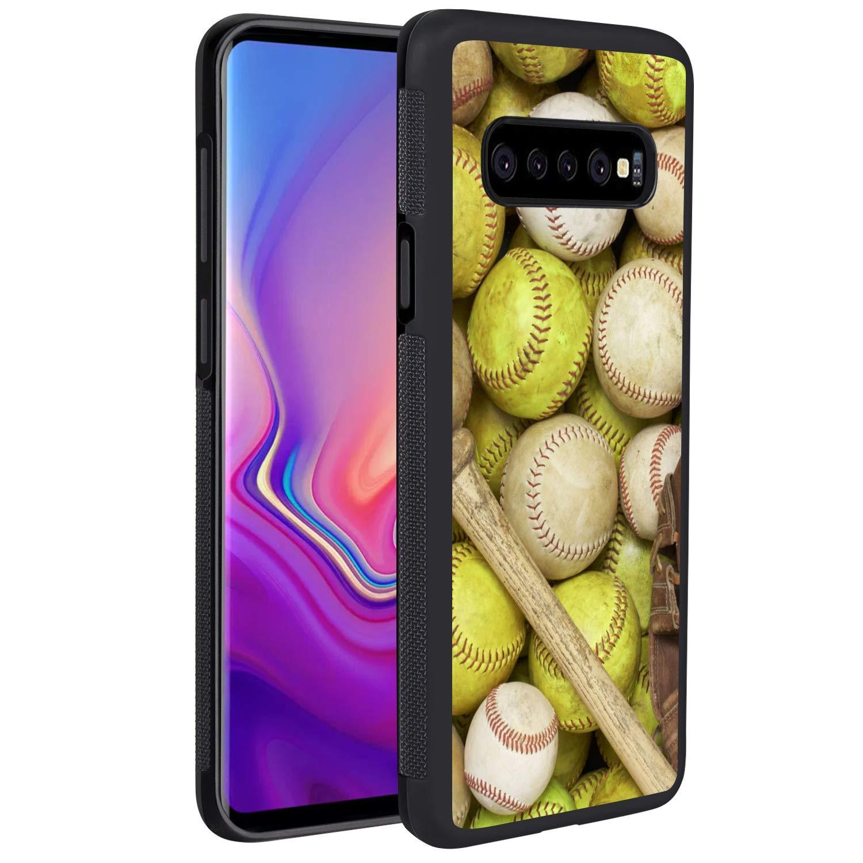 KASOS Phone Case for Samsung Galaxy S10+ Case Softball Baseball Reinforced Drop Protection Hard PC Back Flexible TPU Bumper Protective Case