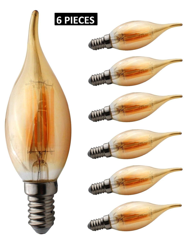 JCKing 6-Pack Regulable AC 220V E14 6W LED Filamento Bombilla de luz de é poca, Bombillas incandescentes de 60W Reemplazo para lá mpara, Blanco cá lido Bombillas incandescentes de 60W Reemplazo para lámpara Blanco cálido