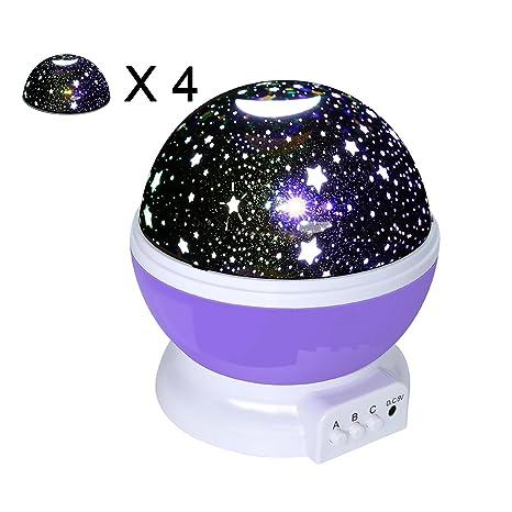 Proyector Estrellas de OKE Nueva Generación de 360 Grados de Rotación, 4 Tapas Top Diferentes Patrones, 3 Modo de Luz del Proyector de la Estrella ...