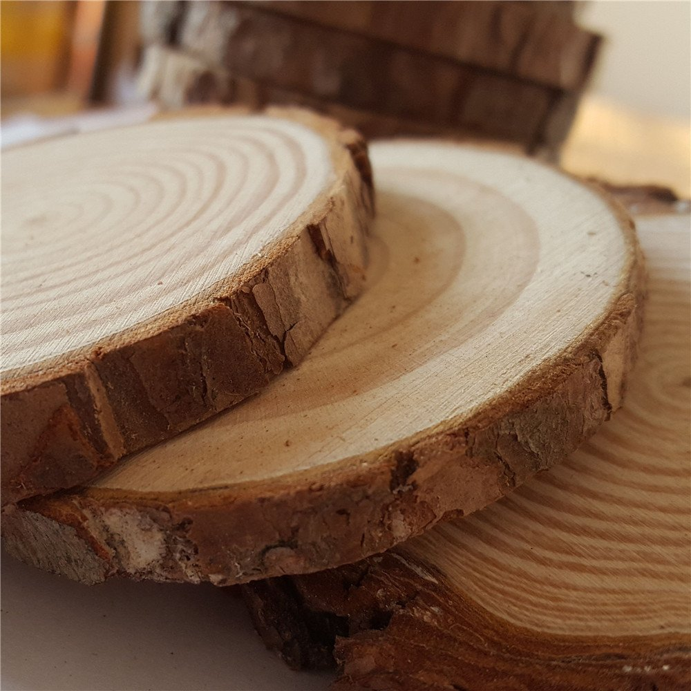 Natural Wood Slices with Tree Bark Wood Discs 3.1 3.5 inch 15pcs for Centerpieces CoastersOrnaments DIY Crafts