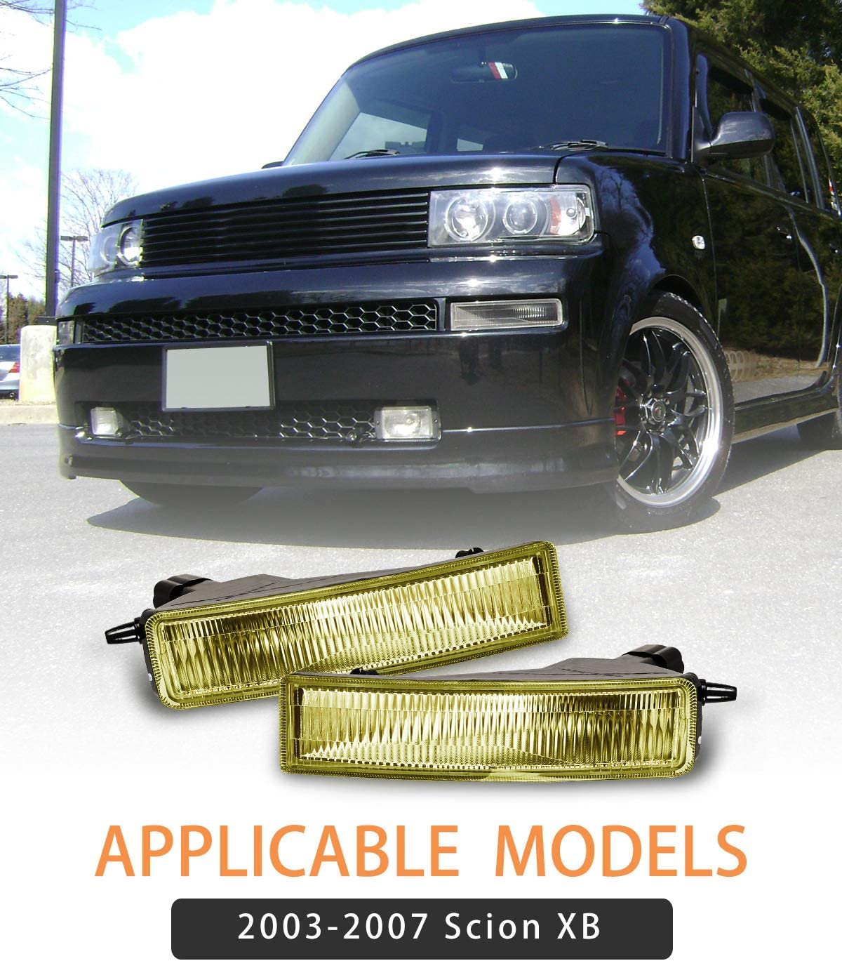 Fog Lights for 2003-2007 Scion XB With Yellow Lens 2PCS OEM Replacement Fog Lamps AUTOWIKI